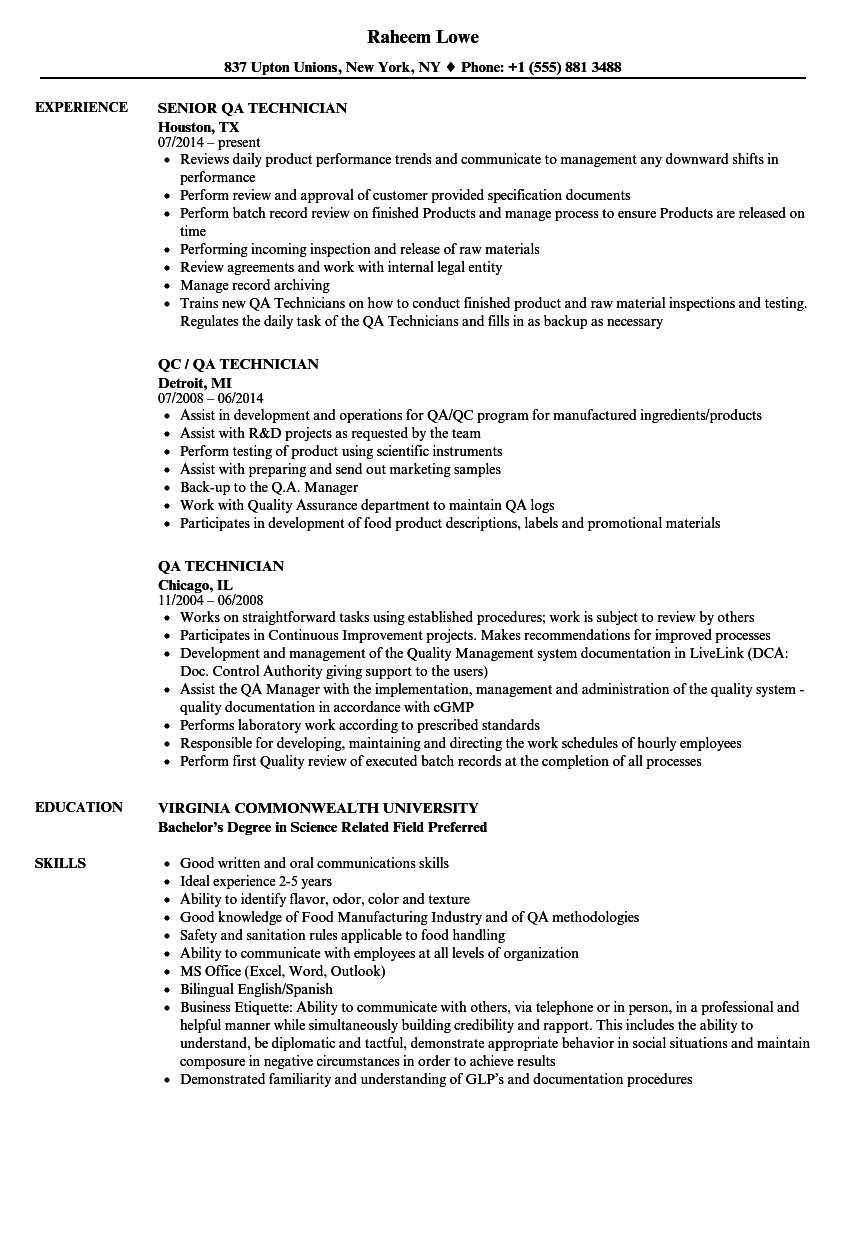 QA Technician Resume Samples | Velvet Jobs