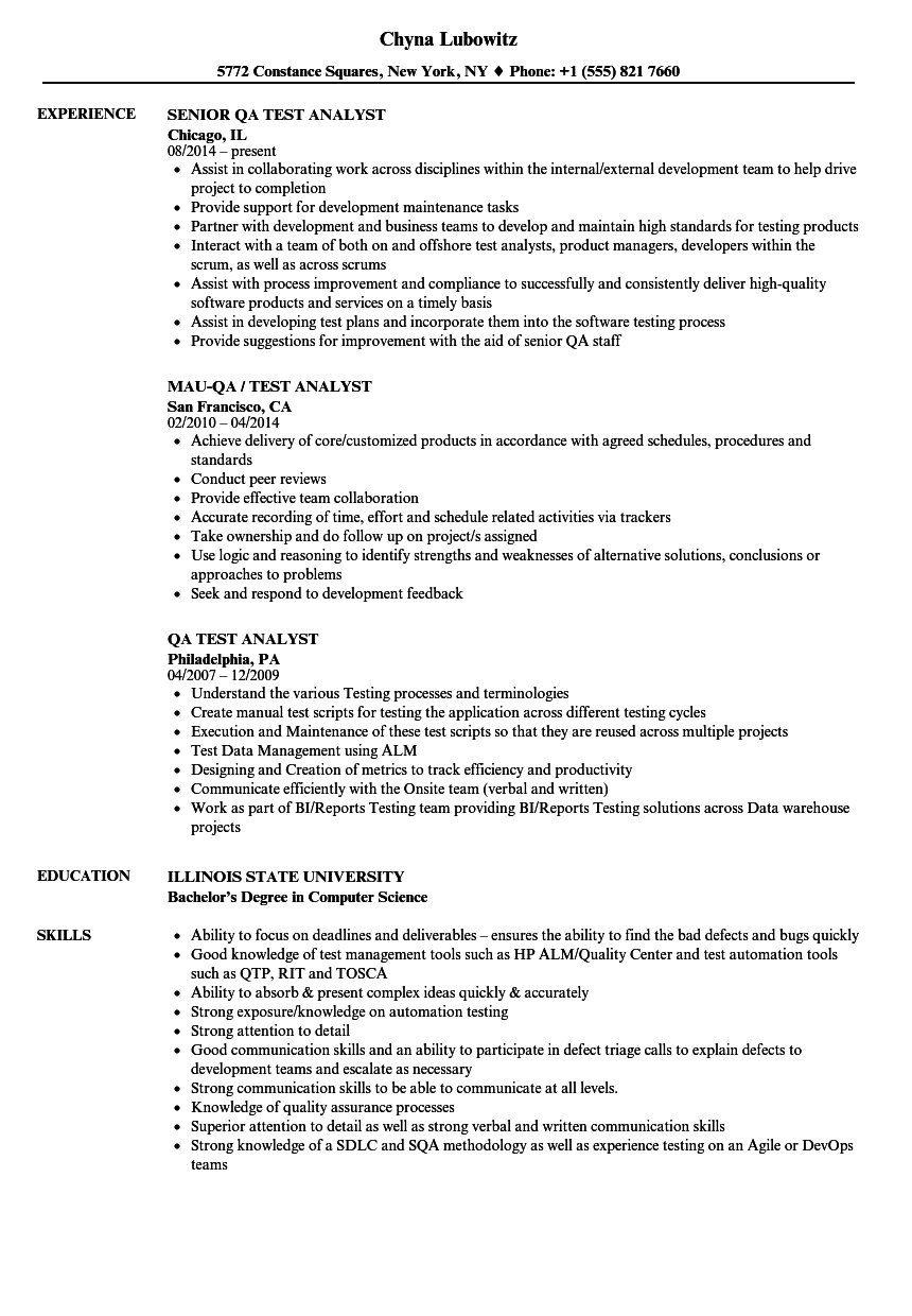 Qa Test Analyst Resume Samples Velvet Jobs