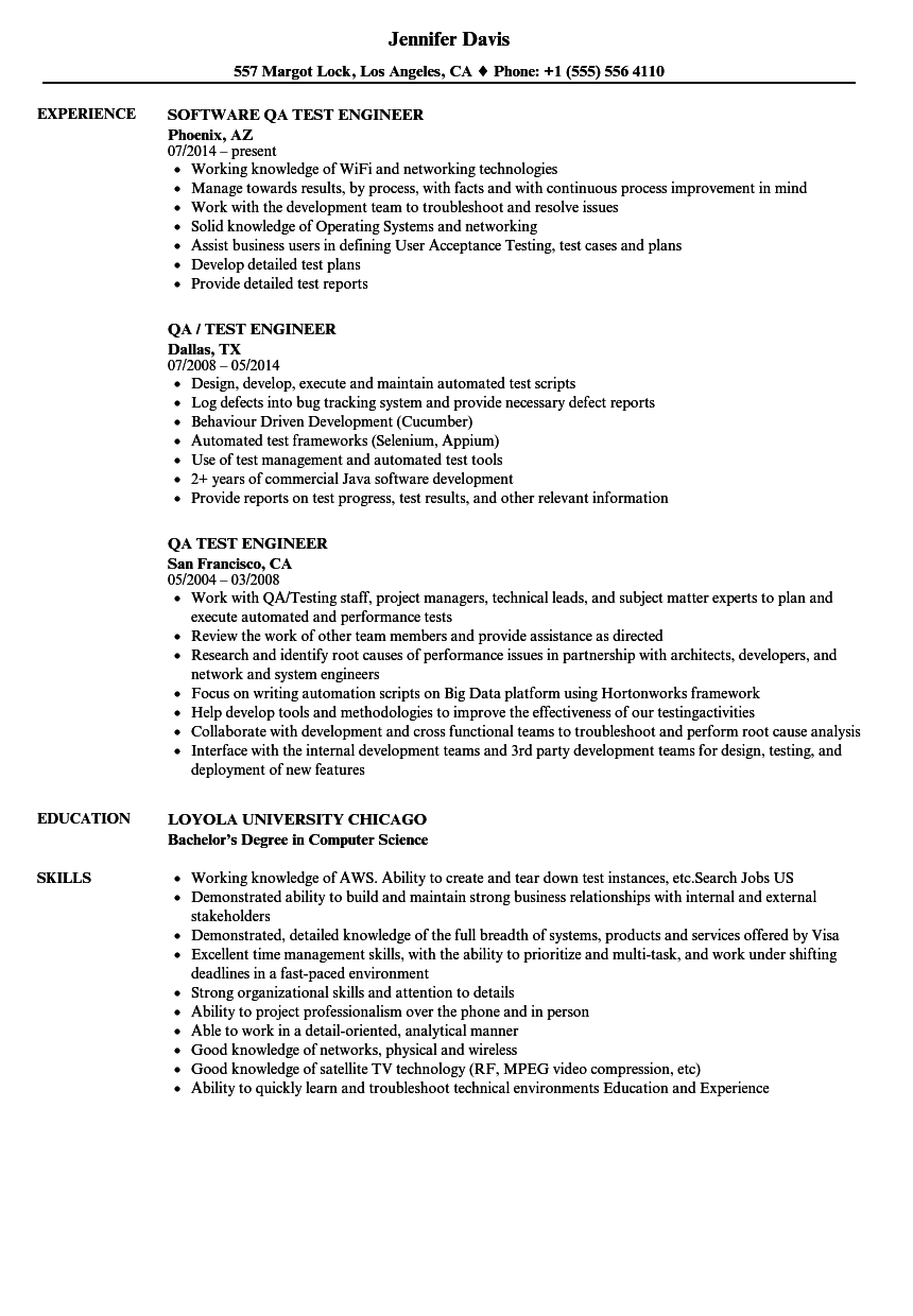 Qa test engineer resume samples velvet jobs for Sample resume for software test engineer with experience