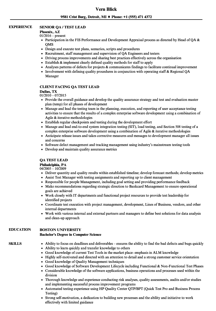 Qa Test Lead Resume Samples Velvet Jobs