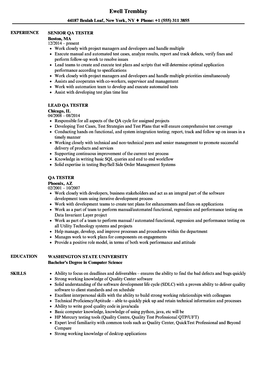 QA Tester Resume Samples | Velvet Jobs