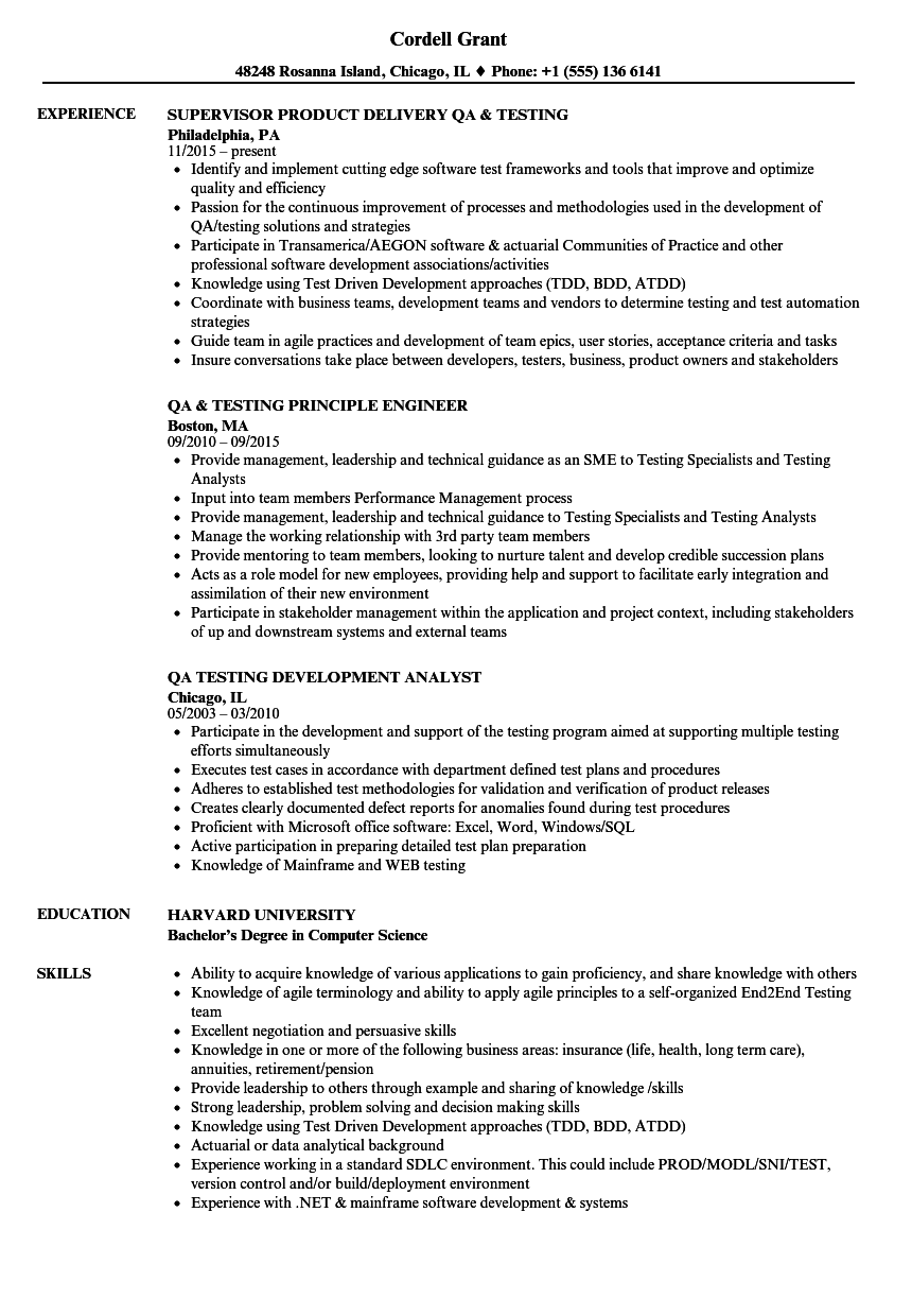Download QA Testing Resume Sample As Image File
