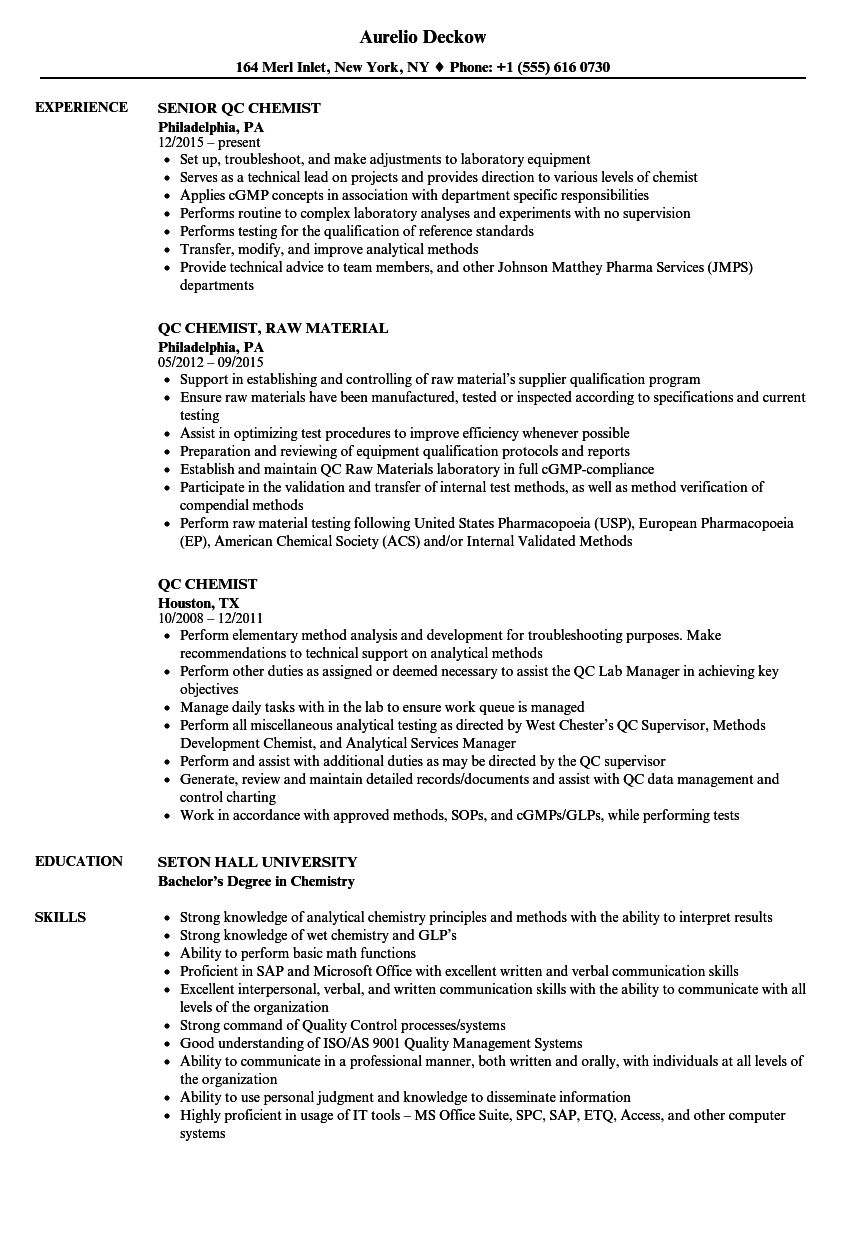 Qc Chemist Resume Samples | Velvet Jobs