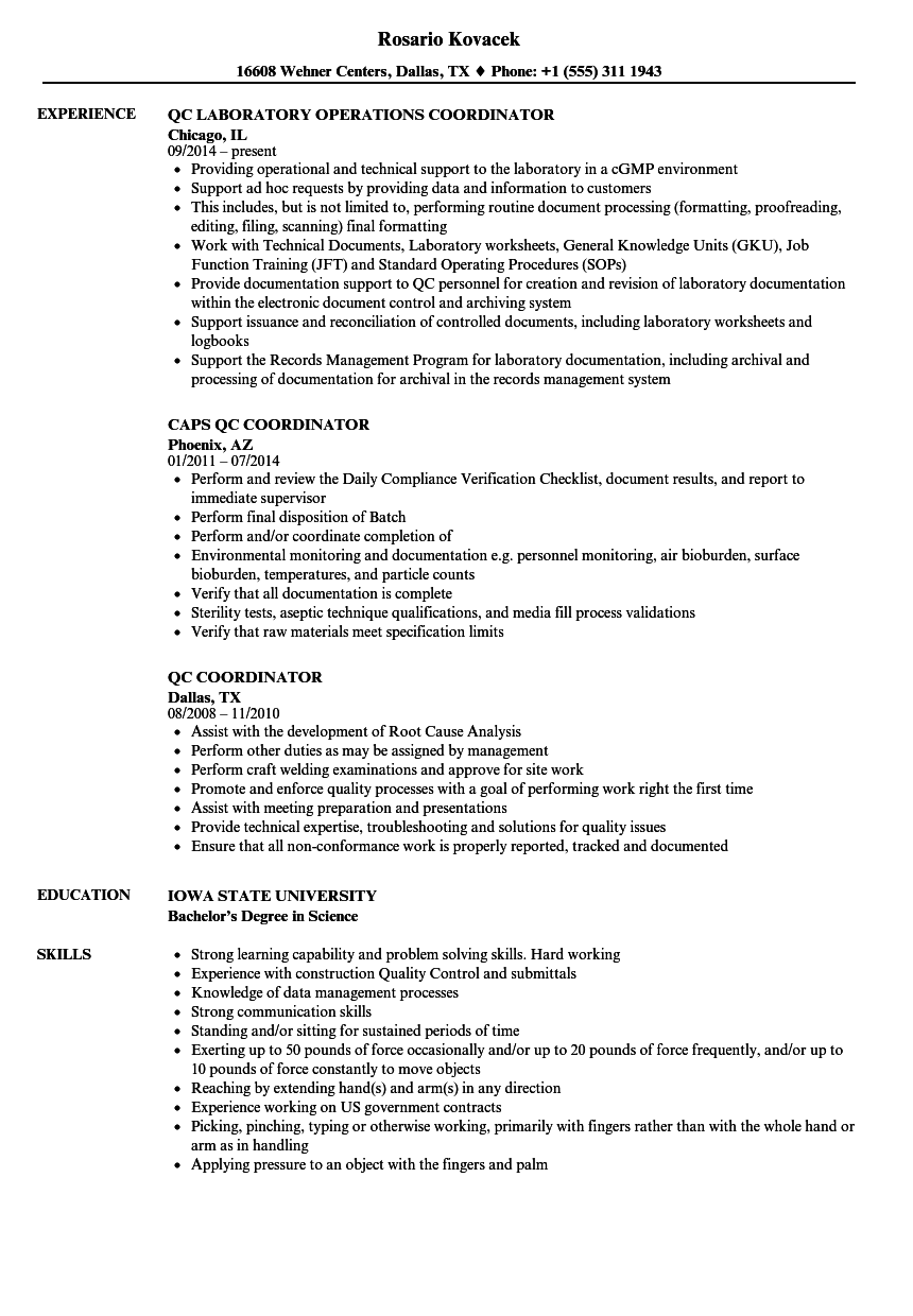 QC Coordinator Resume Samples | Velvet Jobs