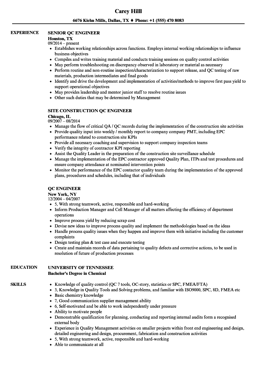 QC Engineer Resume Samples | Velvet Jobs