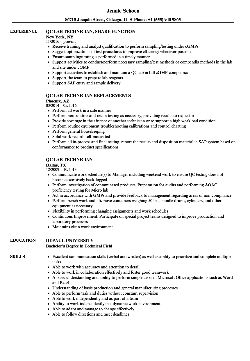 QC Lab Technician Resume Samples | Velvet Jobs