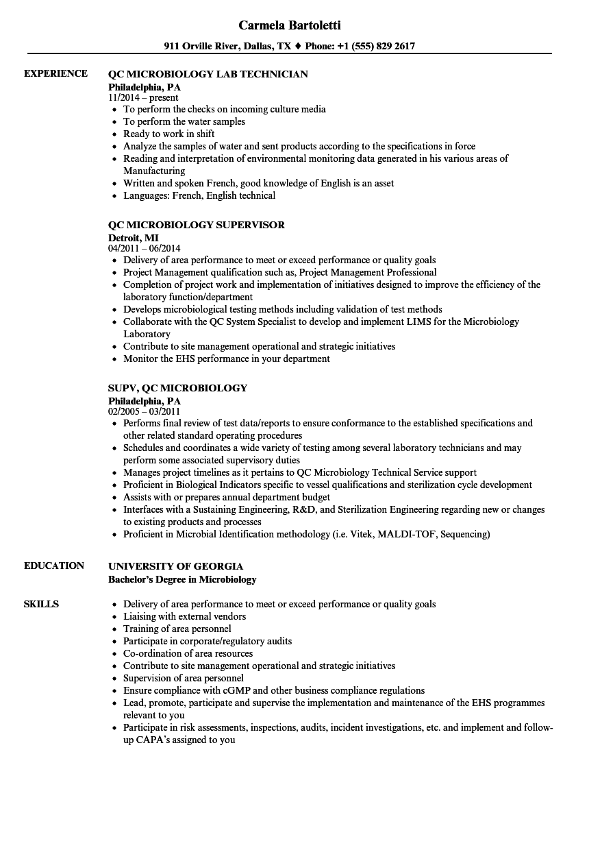 QC Microbiology Resume Samples | Velvet Jobs