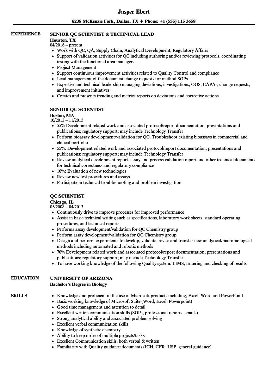 Qc Scientist Resume Samples | Velvet Jobs
