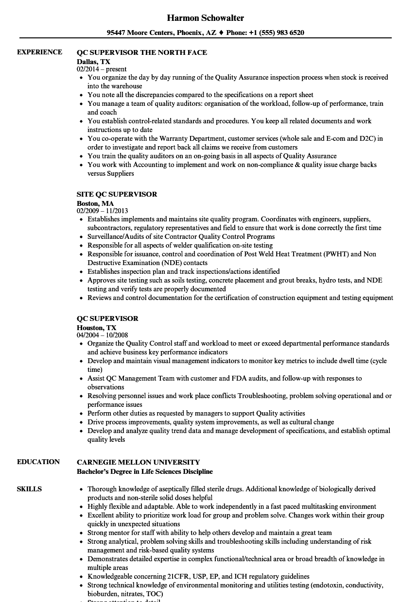 QC Supervisor Resume Samples | Velvet Jobs