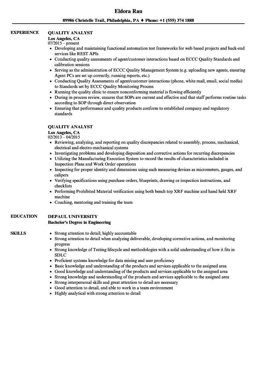 quality analyst resume samples