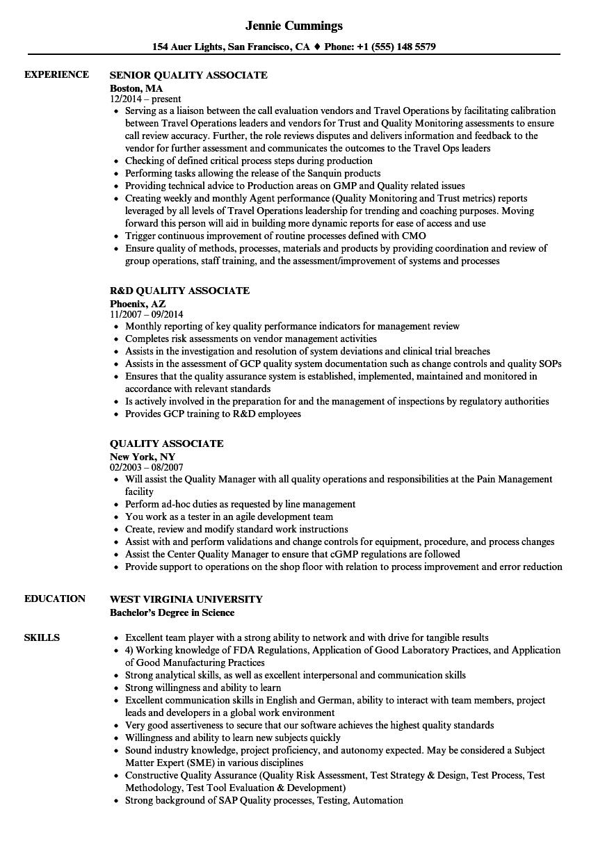 quality associate resume samples