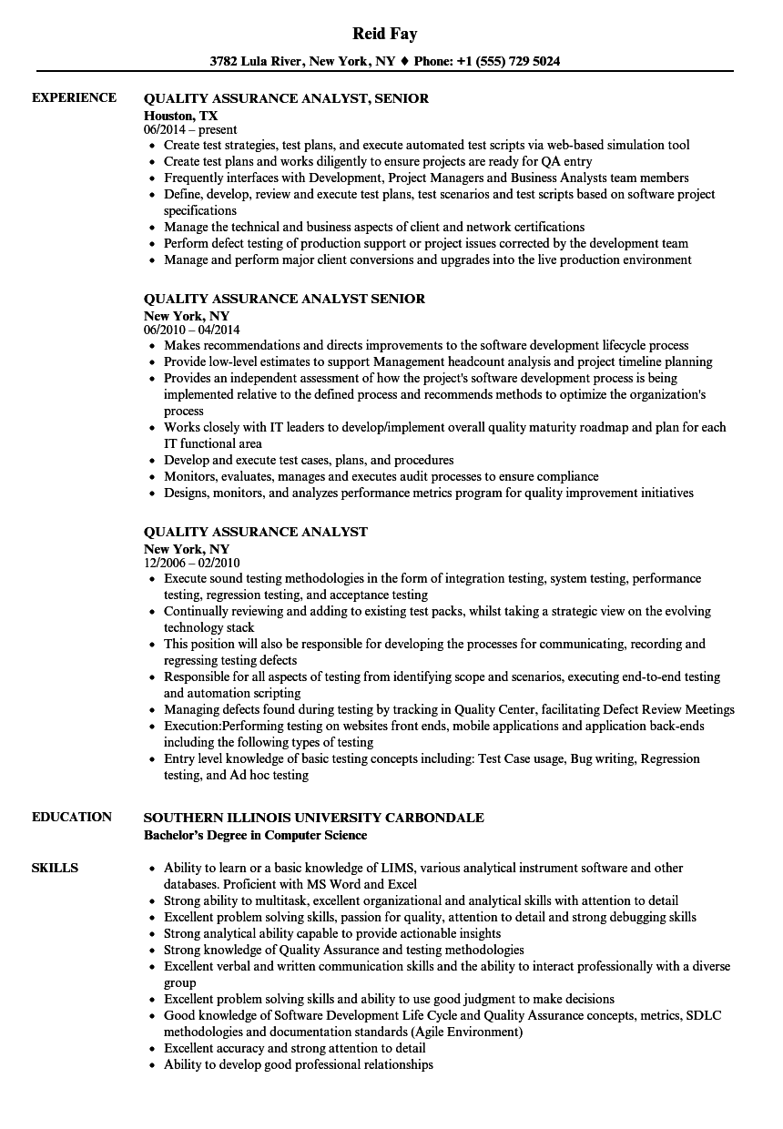 Quality Assurance Analyst Resume Samples | Velvet Jobs