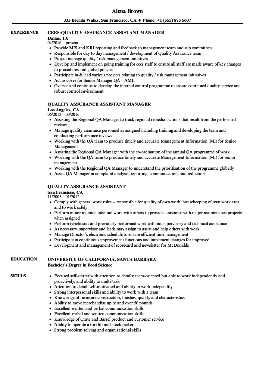 quality assurance assistant resume samples