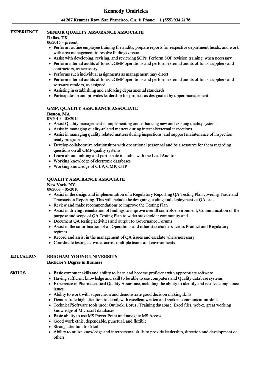 quality assurance associate resume samples
