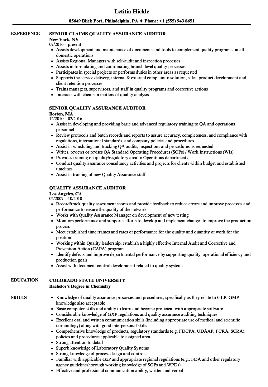 Quality Assurance Auditor Resume Samples | Velvet Jobs