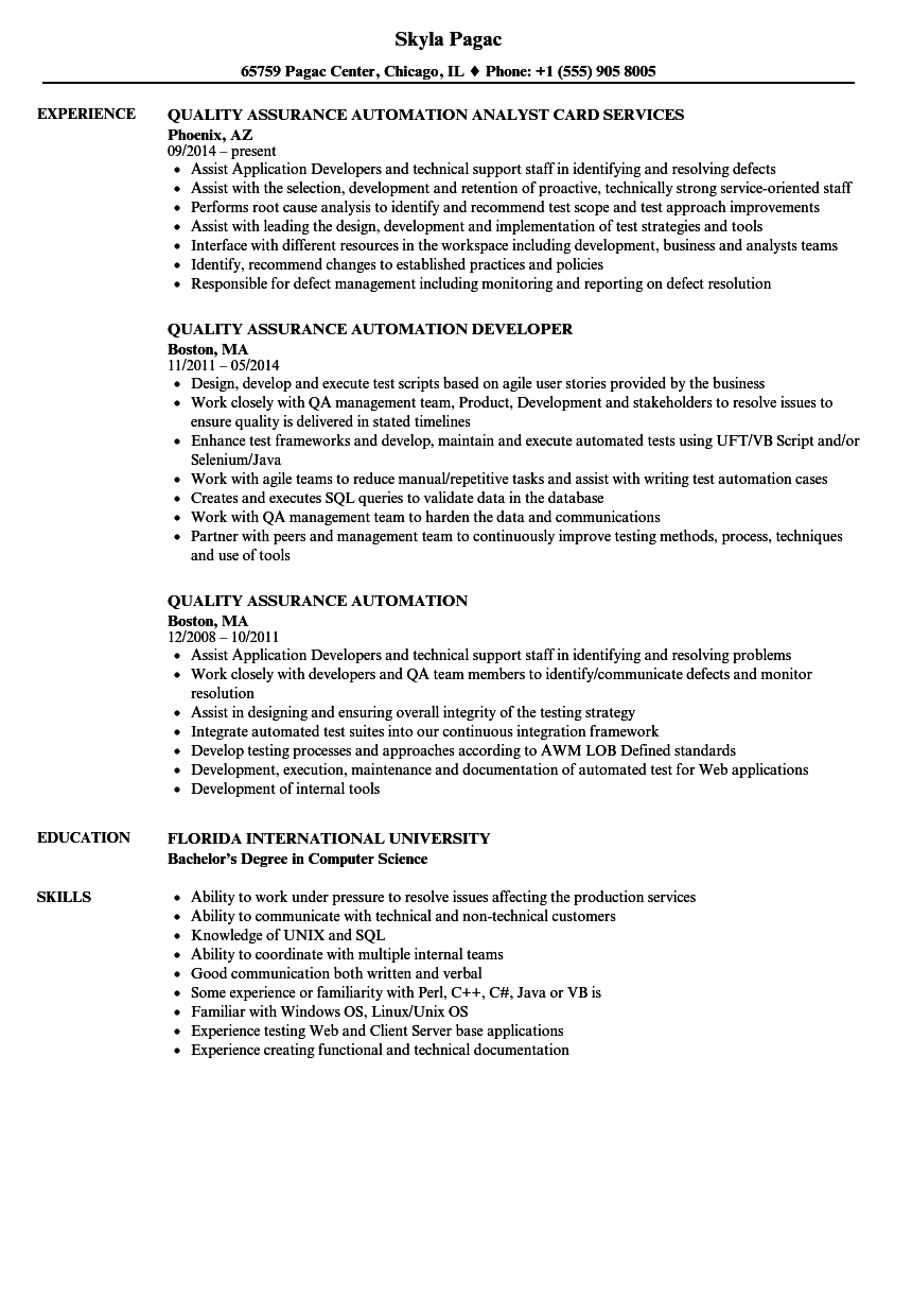 Quality Assurance Automation Resume Samples | Velvet Jobs