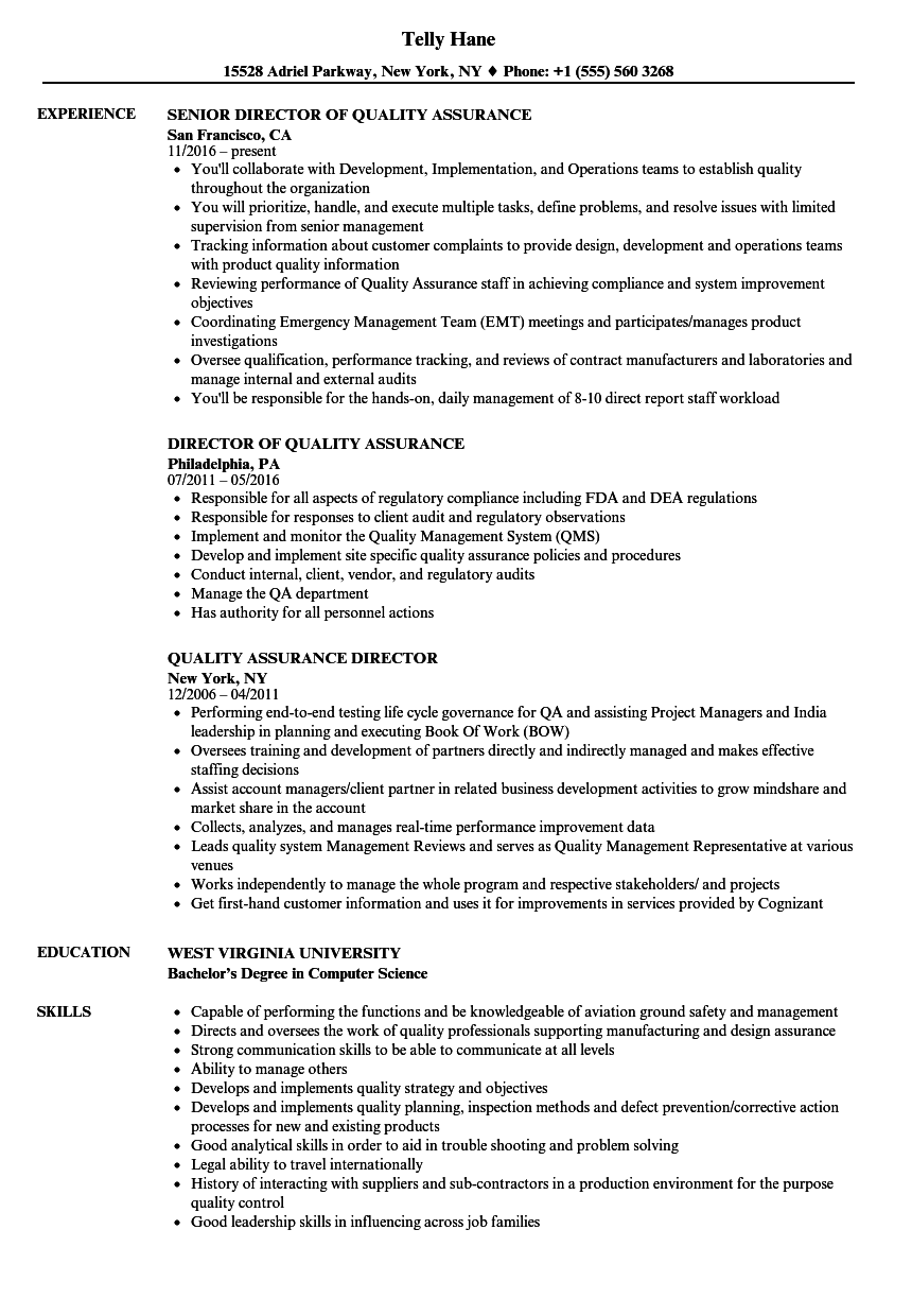 Quality Assurance Director Resume Samples | Velvet Jobs