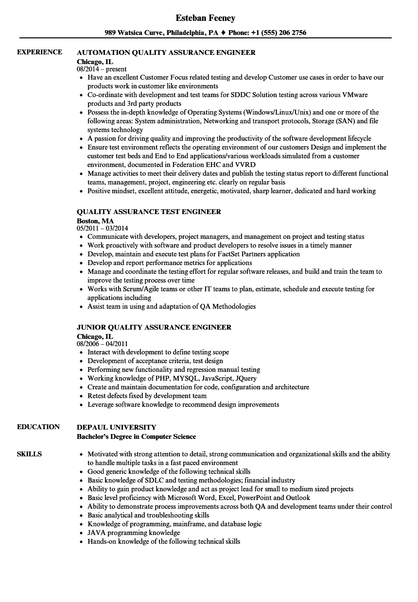 Quality Assurance Engineer Quality Resume Samples Velvet Jobs
