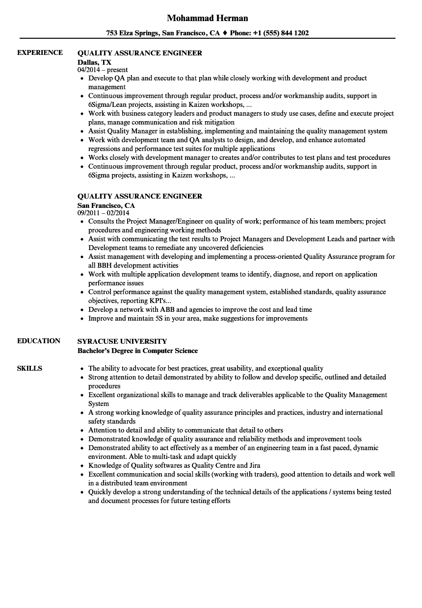Quality Assurance Engineer Resume Samples | Velvet Jobs