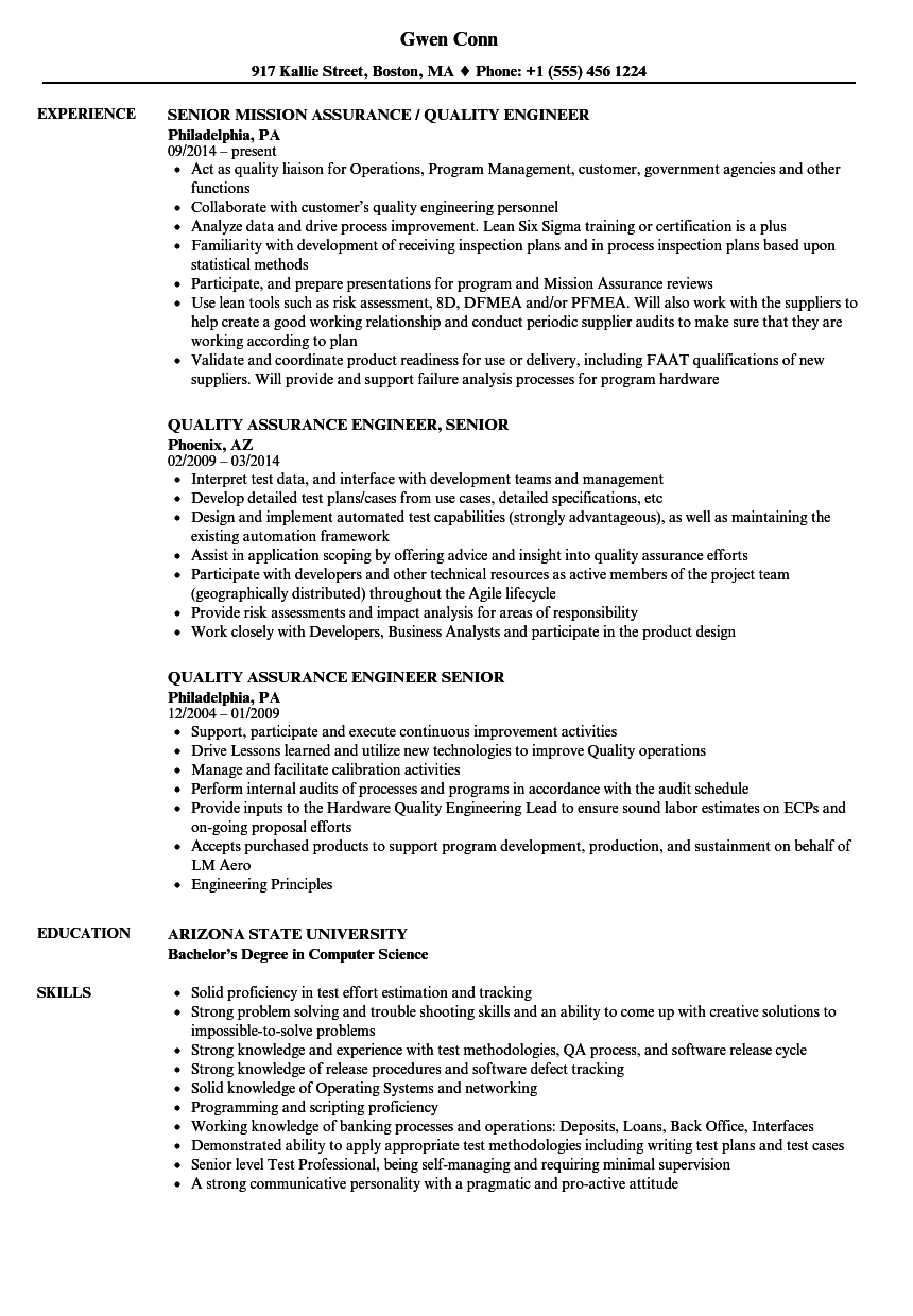 Quality Assurance Engineer, Senior Resume Samples | Velvet Jobs
