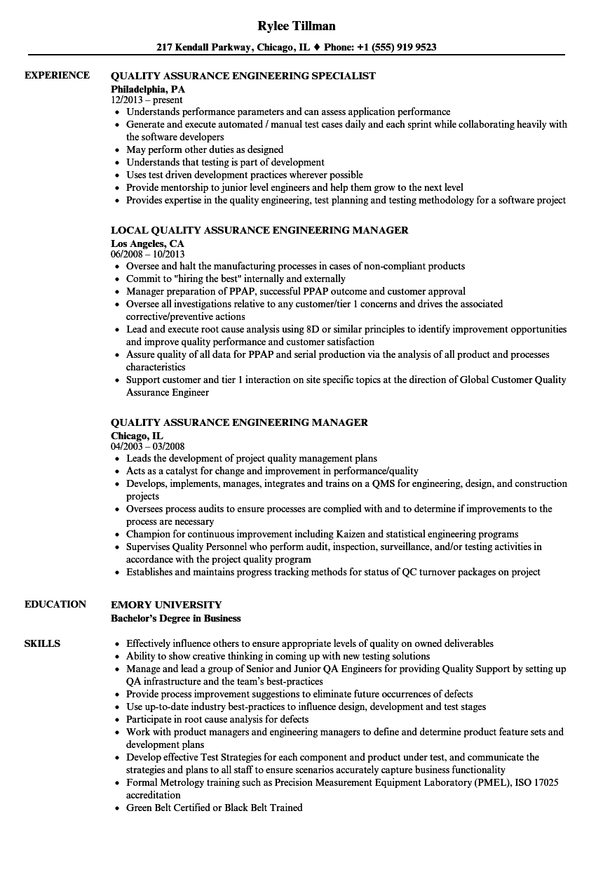 Quality Assurance Engineering Resume Samples | Velvet Jobs