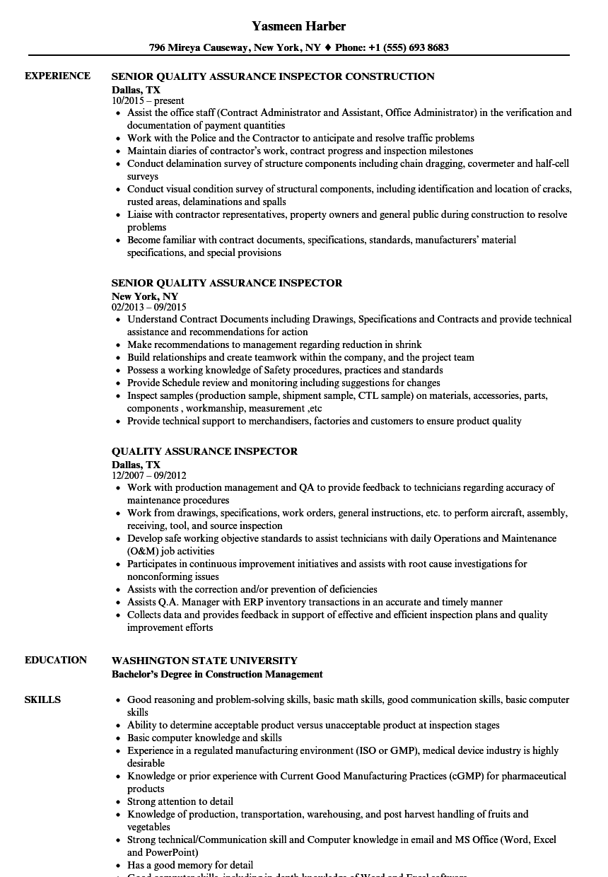 Quality Assurance Inspector Resume Samples Velvet Jobs