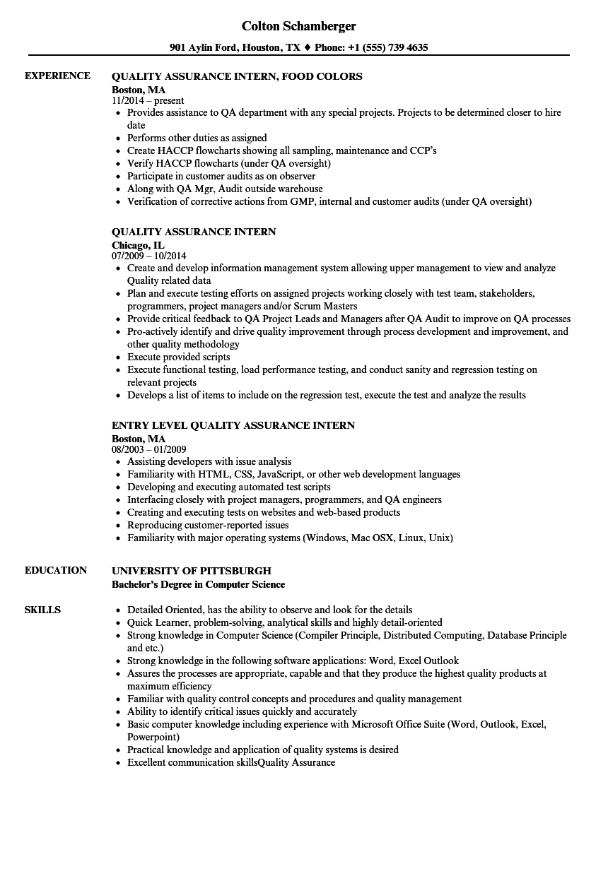 Quality Assurance Intern Resume Samples | Velvet Jobs