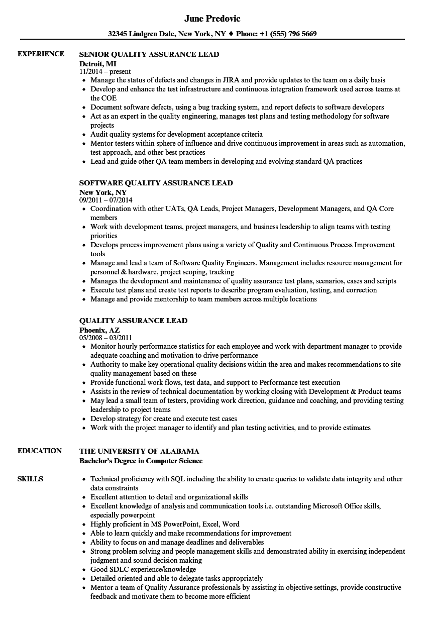 Quality Assurance Lead Resume Samples | Velvet Jobs