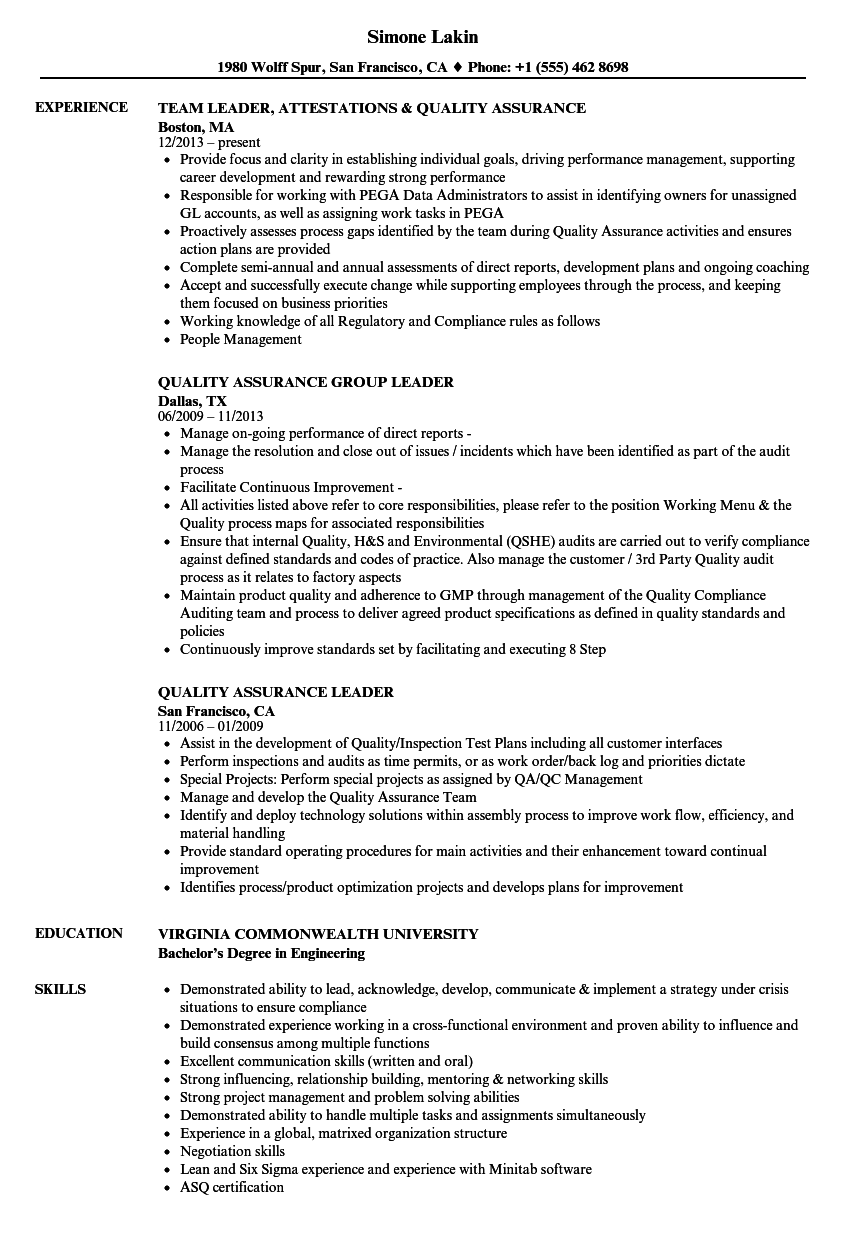 quality assurance leader resume samples