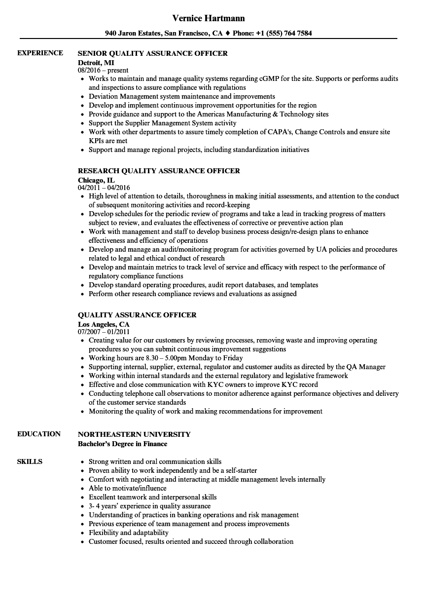 quality assurance officer resume samples