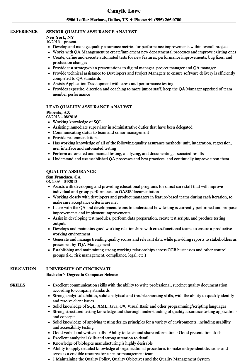 Quality Assurance Resume Samples Velvet Jobs