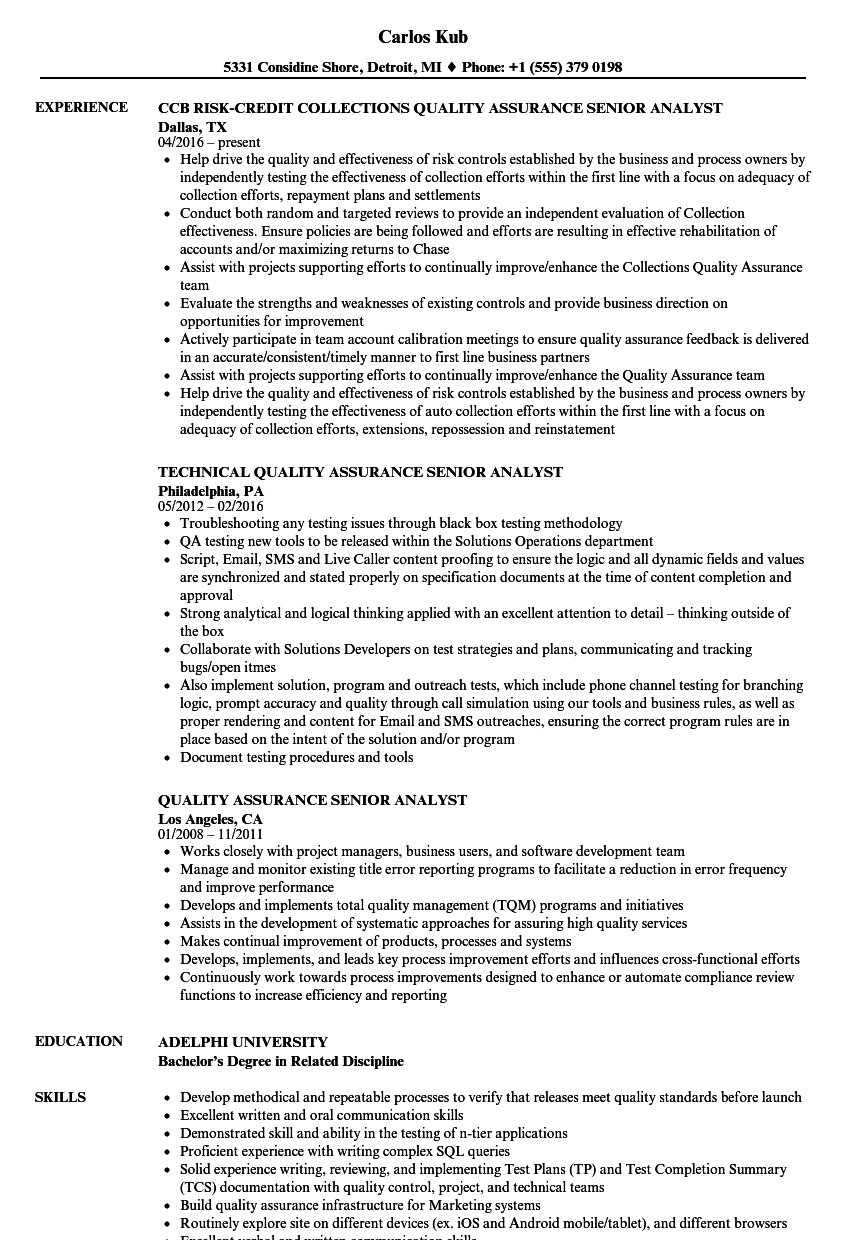 quality assurance senior analyst resume samples