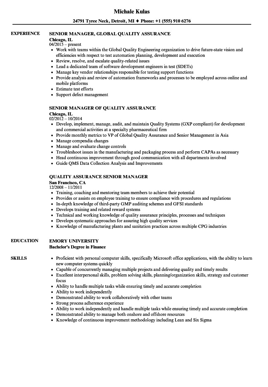 Quality Assurance Senior Manager Resume Samples | Velvet Jobs