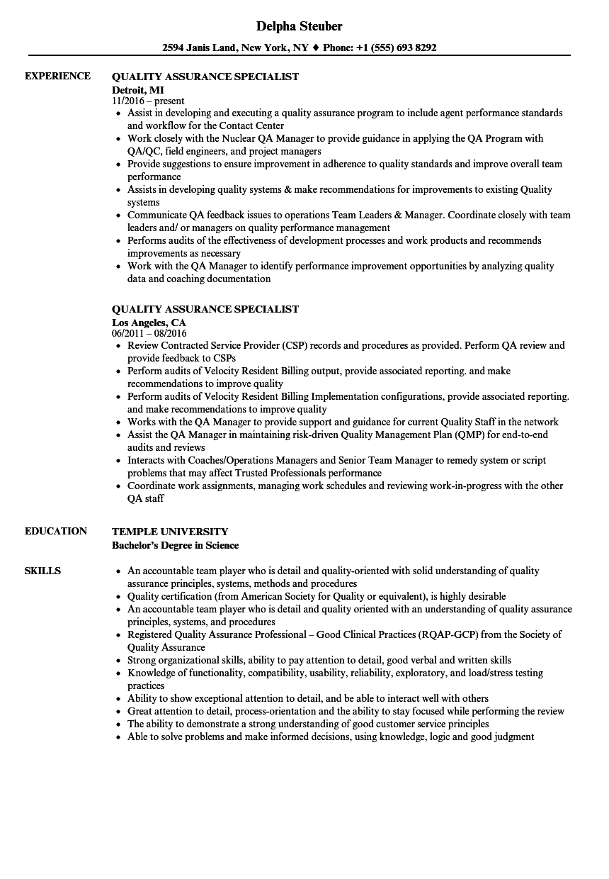 Quality Assurance Specialist Resume Samples | Velvet Jobs
