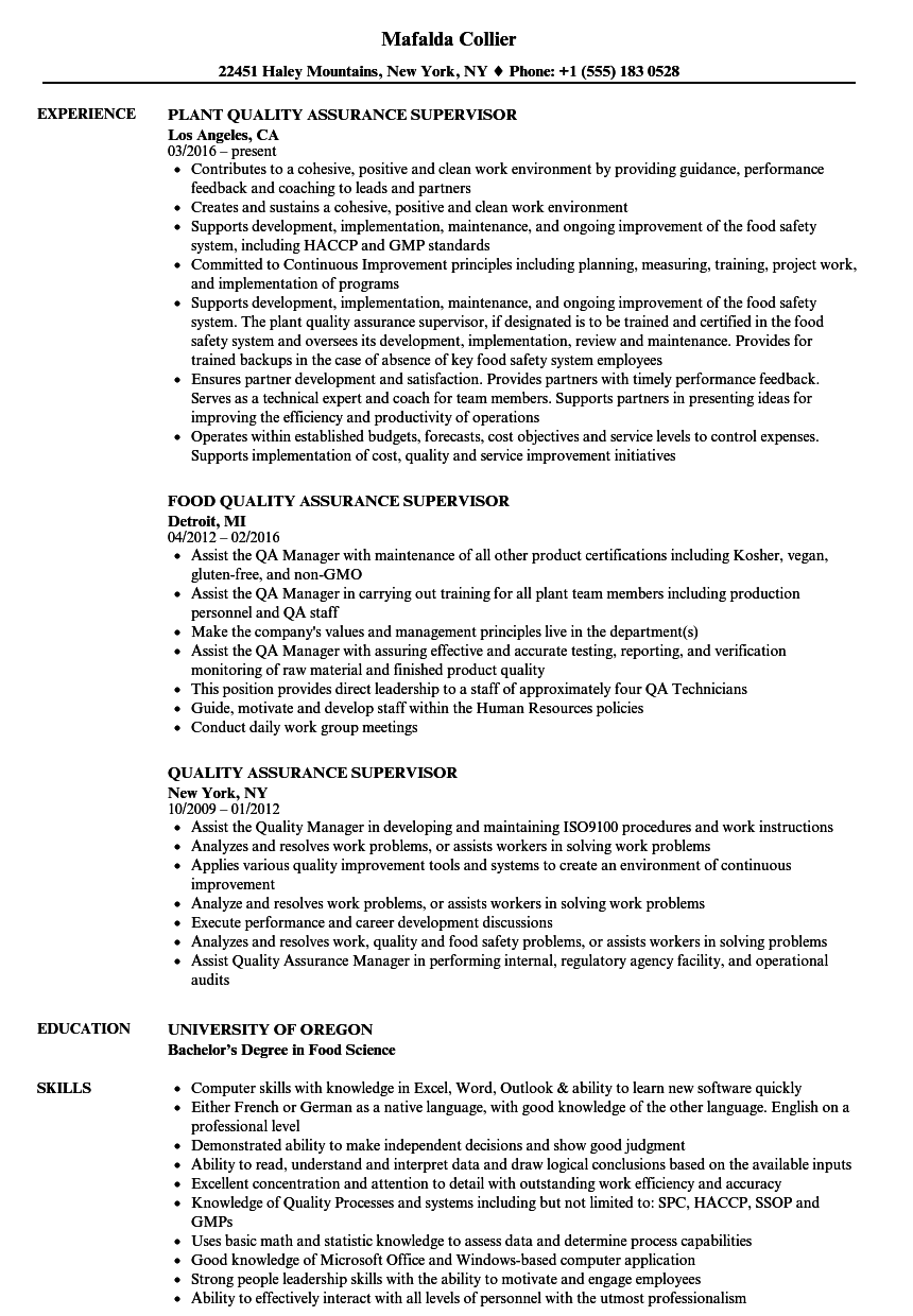 Quality Assurance Supervisor Resume Samples | Velvet Jobs