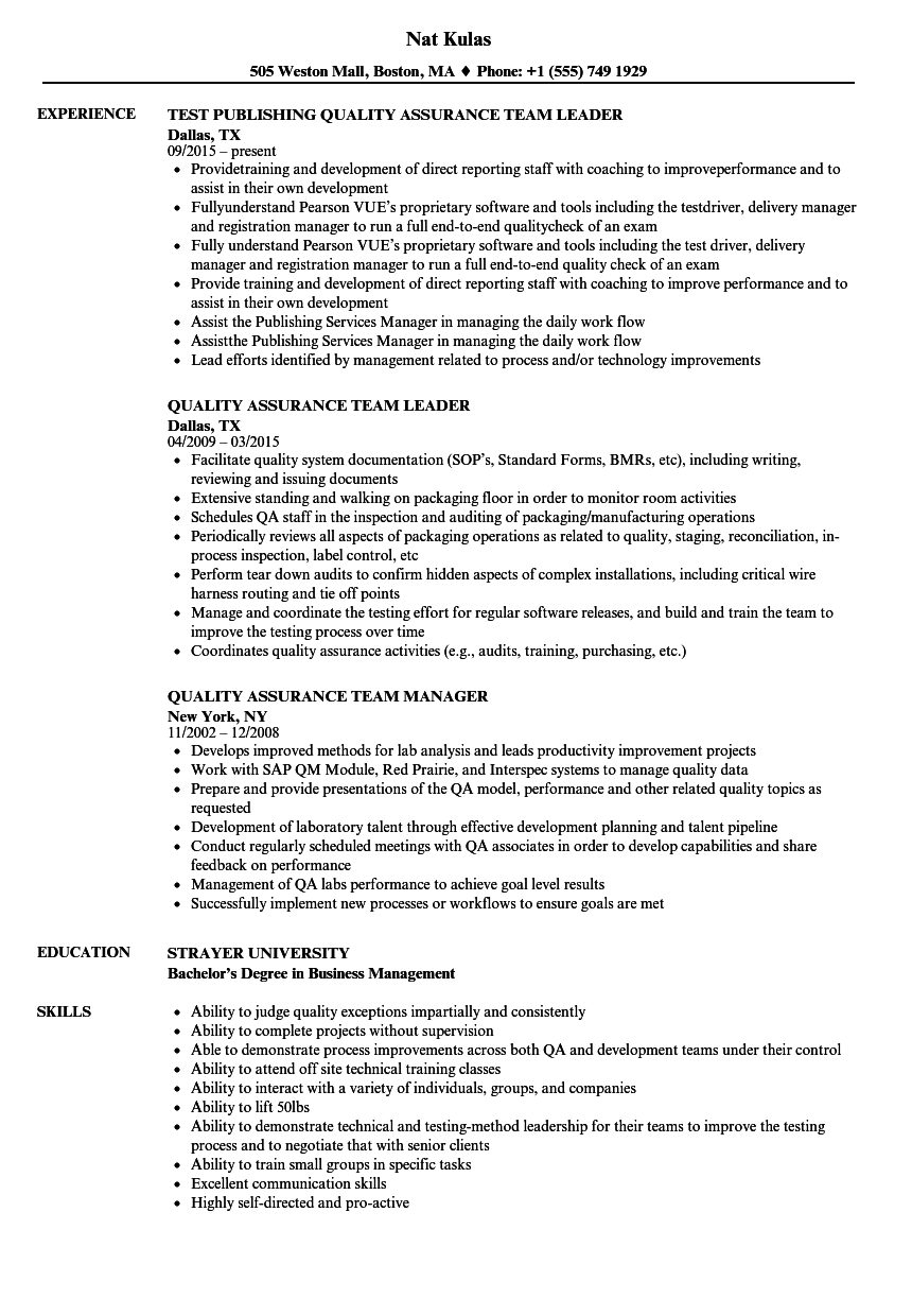 download quality assurance team resume sample as image file