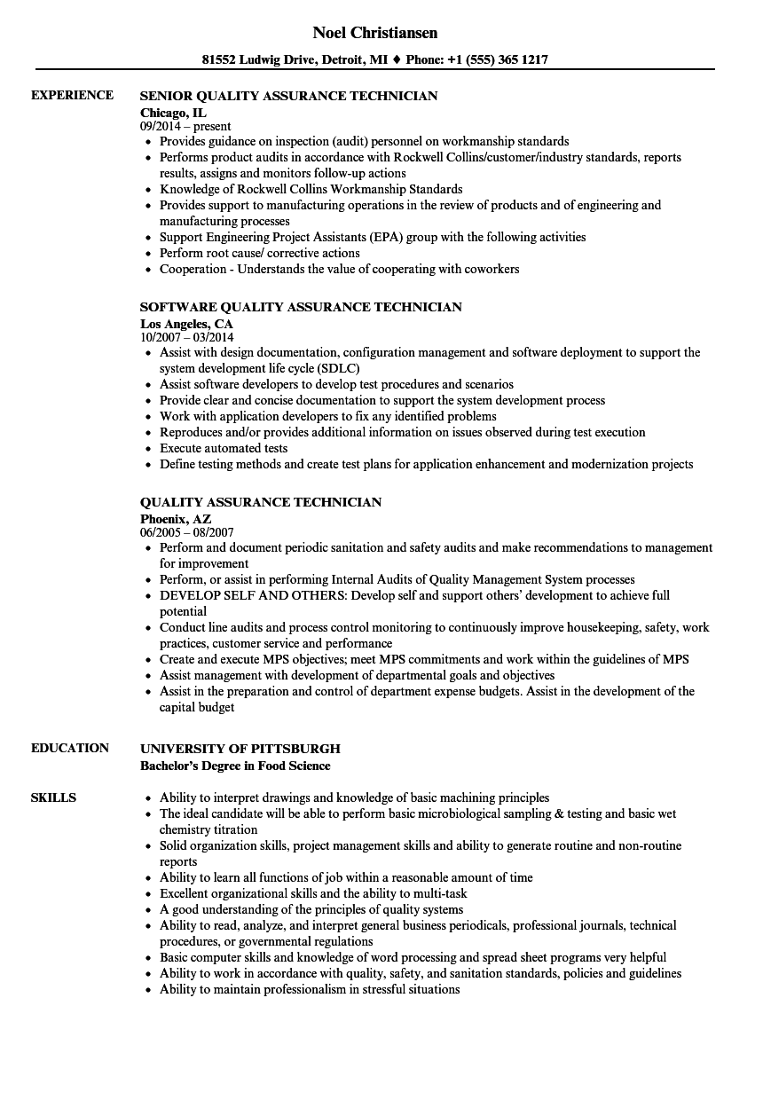 Quality Assurance Technician Resume Samples Velvet Jobs