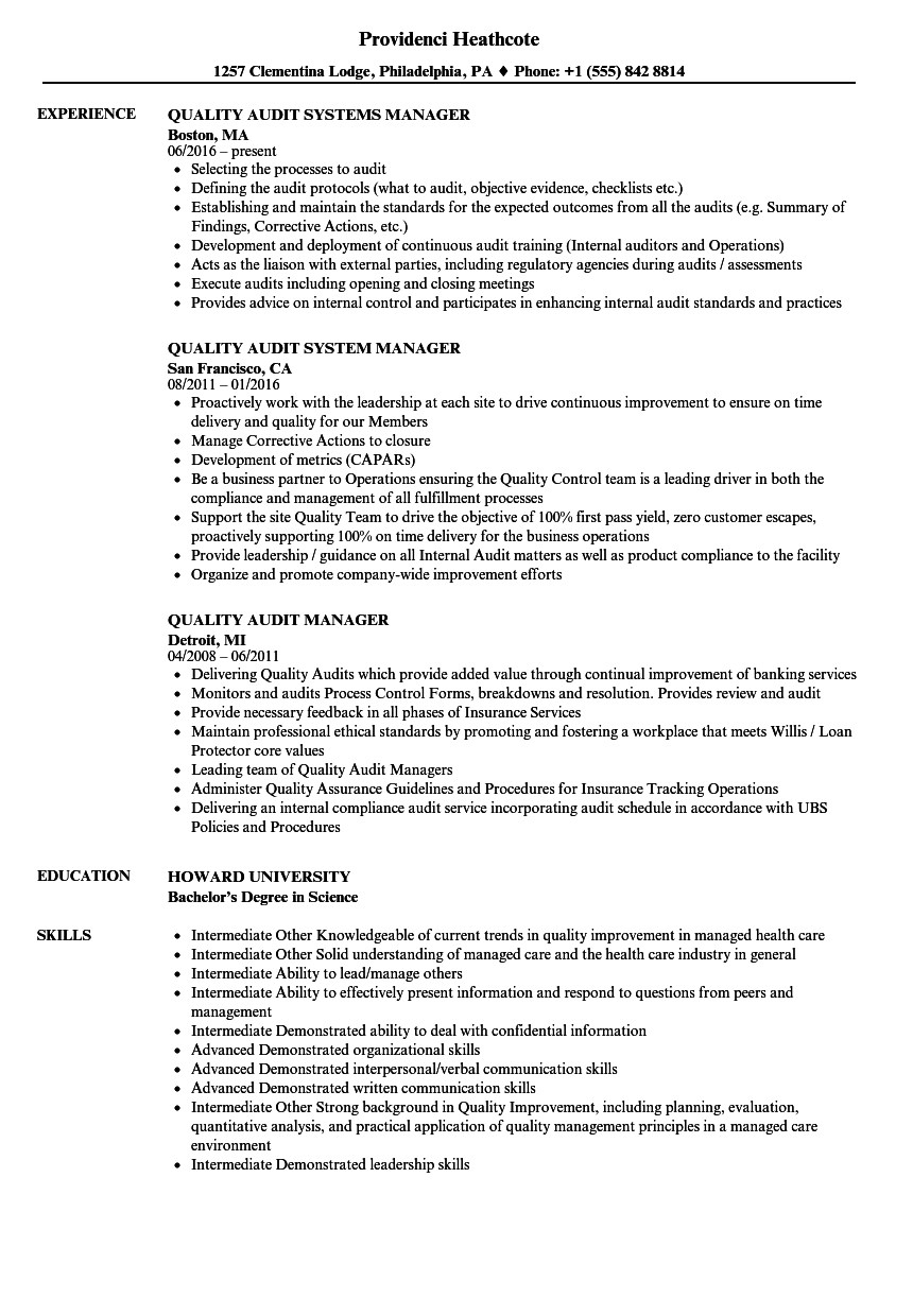 Quality  U0026 Audit Resume Samples