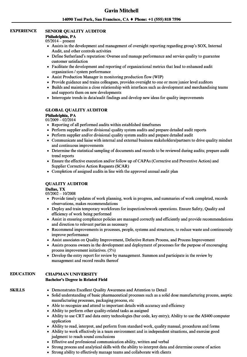 Quality Auditor Resume Samples Velvet Jobs