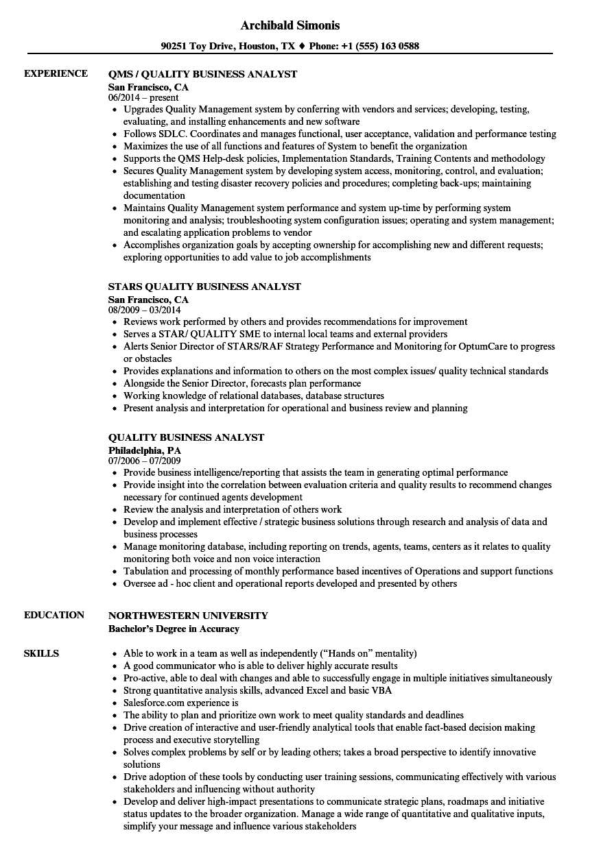 Quality Business Analyst Resume Samples Velvet Jobs
