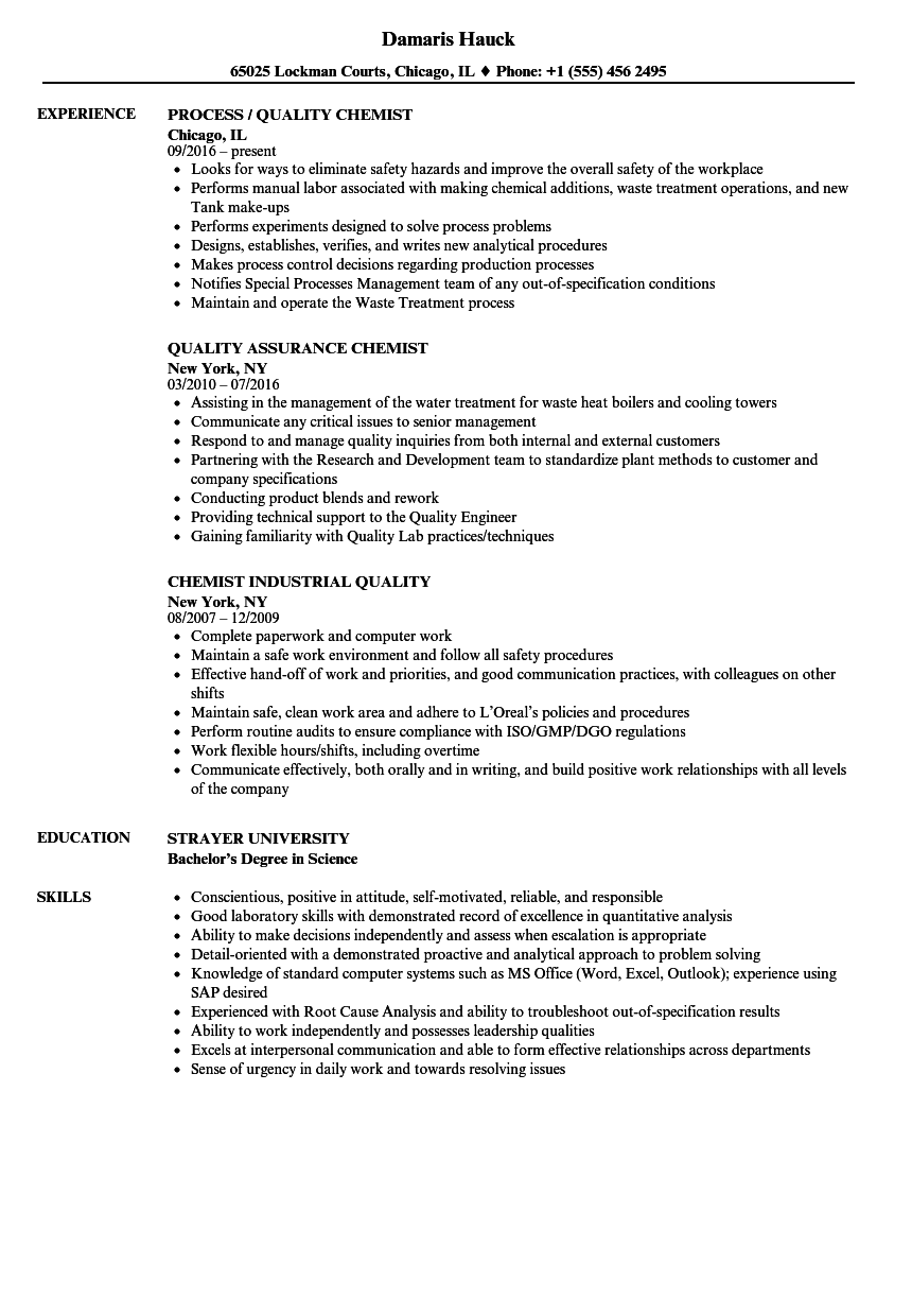 quality chemist resume samples velvet jobs