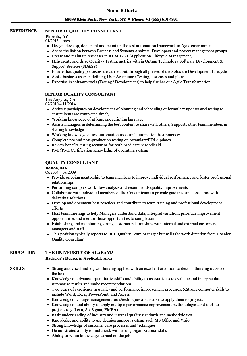 Quality Consultant Resume Samples | Velvet Jobs