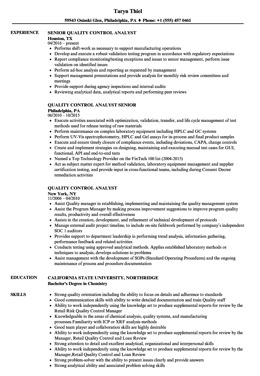 Quality Control Analyst Resume Samples | Velvet Jobs