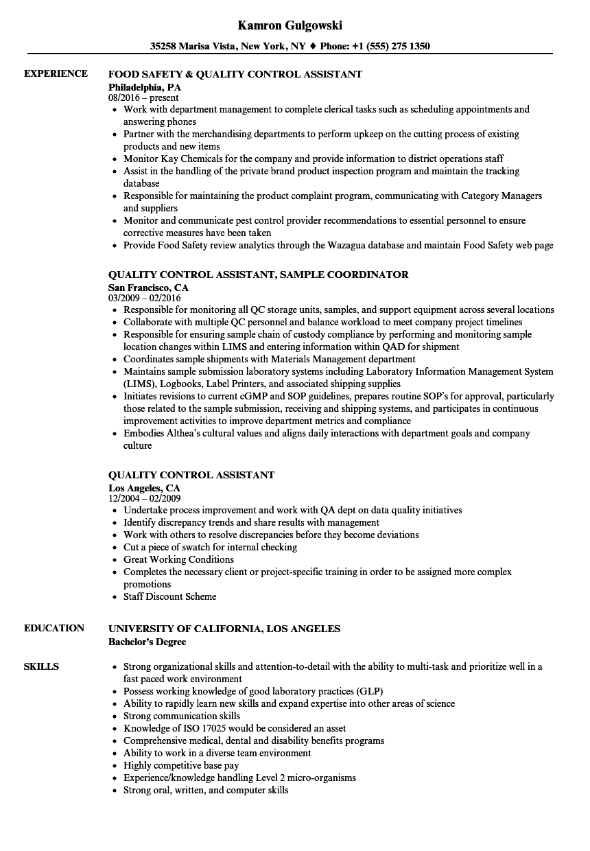Quality Control Assistant Resume Samples Velvet Jobs