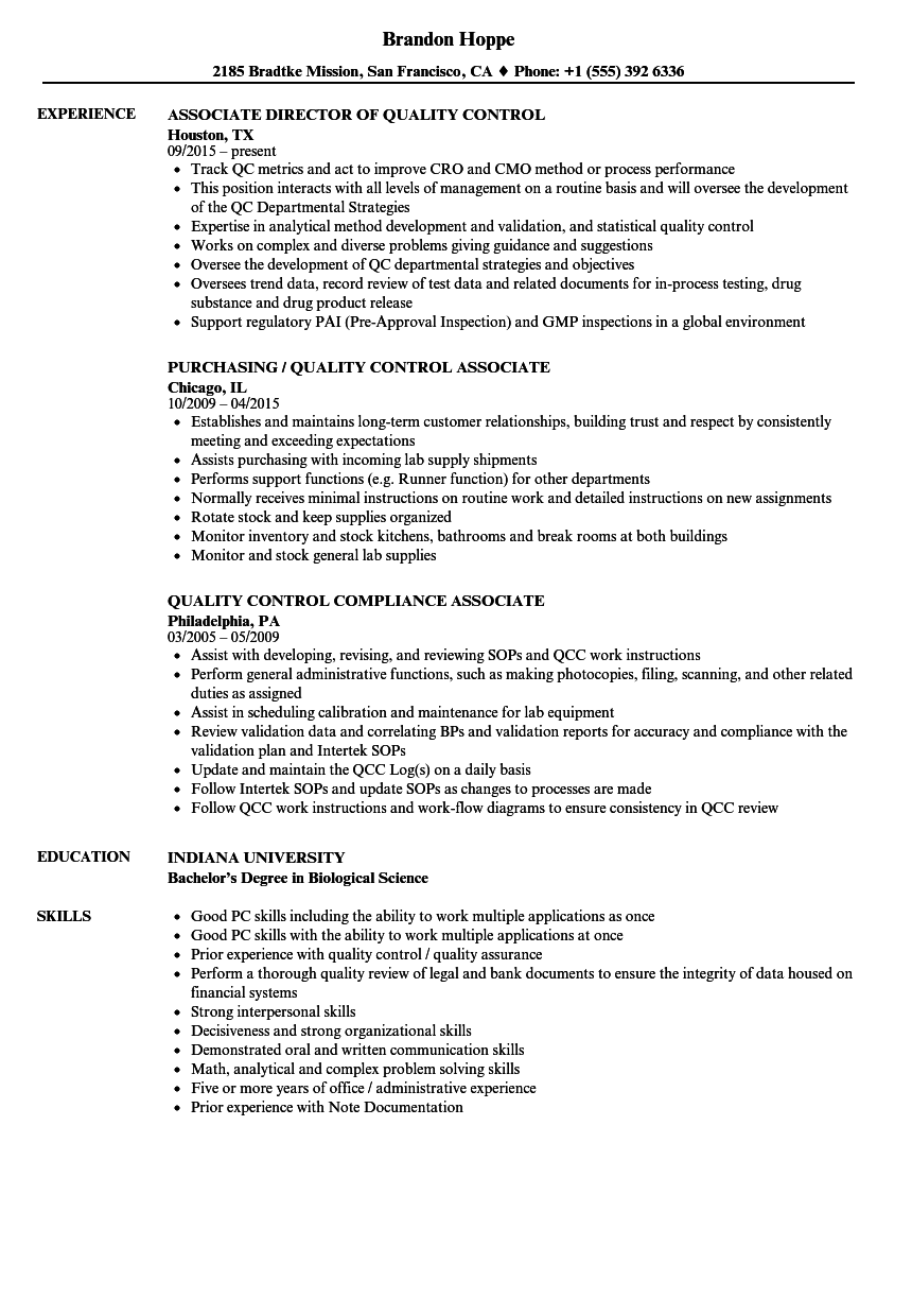 Quality Control Associate Resume Samples Velvet Jobs