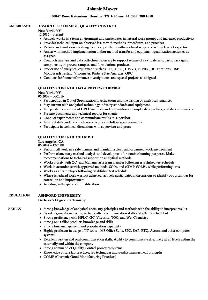 quality control chemist resume samples