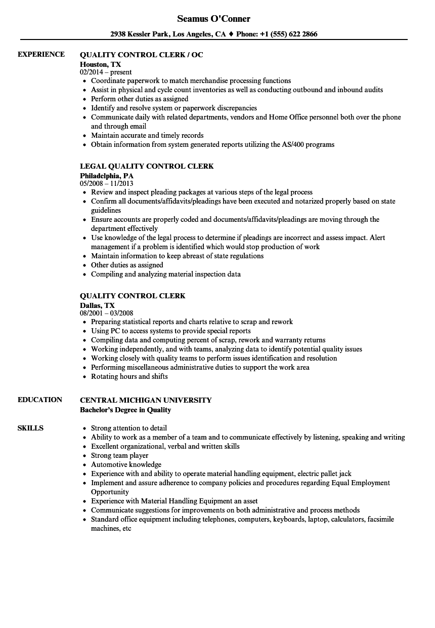 download quality control clerk resume sample as image file - Quality Control Resume