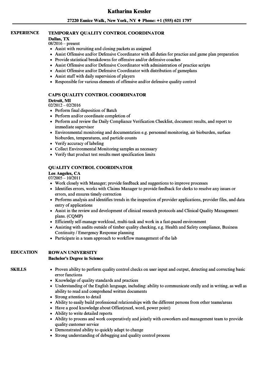 Quality Control Coordinator Resume Samples | Velvet Jobs