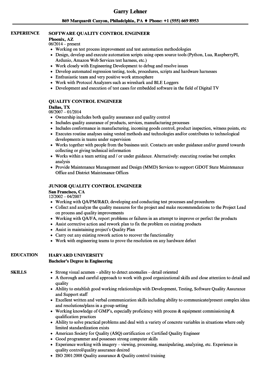 Quality Control Engineer Resume Samples Velvet Jobs