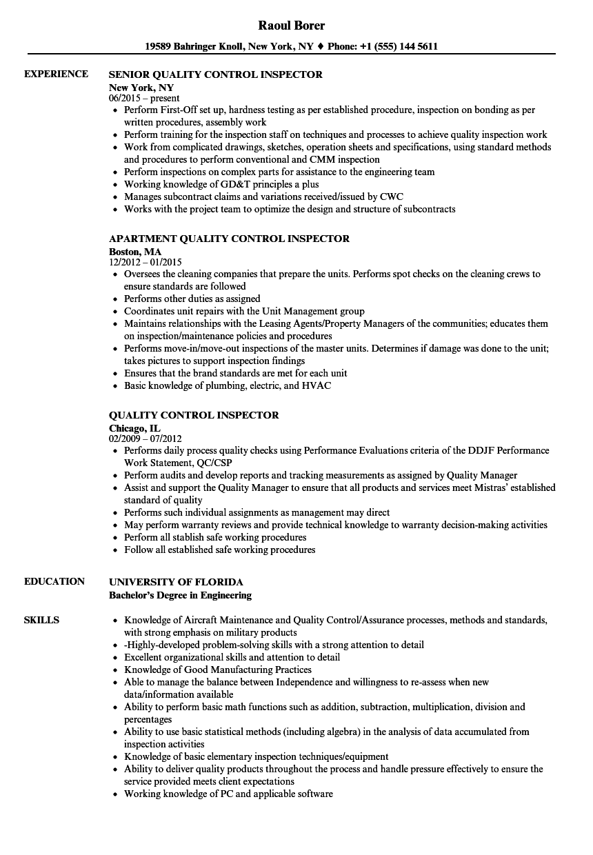 Quality Control Inspector Resume Samples | Velvet Jobs
